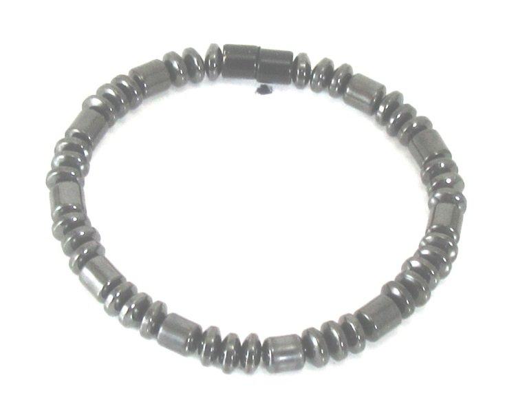 Men's Magnetite Black Drum & Rondelle Single Bracelet Brazilian Magnetite  Jewelry drug free pain relief asthma balance circulation Magnetic Jewelry