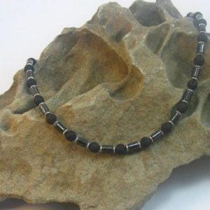 mens lava rock necklace 004_1 on stone
