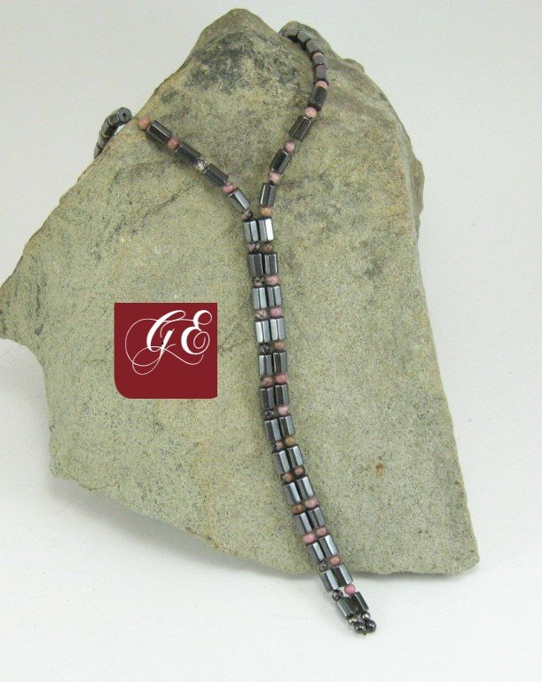 rhodonite wrap lariat magnetite jewelry